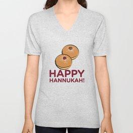 Happy Hanukkah Donuts - Funny Jewish Doughnuts Unisex V-Neck