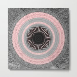 Metal Silver and Pink Mandala Abstract Metal Print