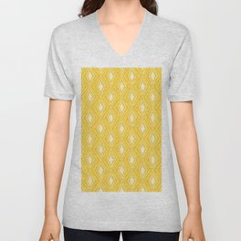 Geometrical yellow white abstract hand painted pattern Unisex V-Neck