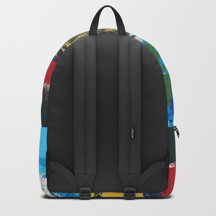 Lucas Abstract Painting Blue Black Yellow Backpack