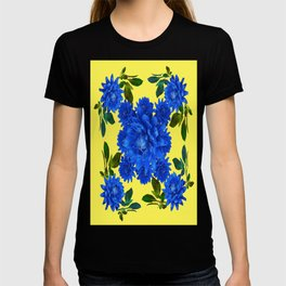 Decorative Blue-yellow Blue Dahlia-Leaves Art Abstract T-shirt