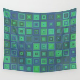 Green Abstract Square Pattern Wall Tapestry