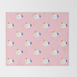 Kawaii rainbow fattycorn pattern Throw Blanket