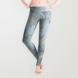 Ice Blue and Gray Marble Leggings