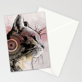 Tides Of Tomorrow (mandala tabby cat drawing, animal portrait) Stationery Cards