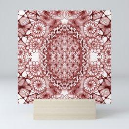 Burgundy Zentangle Tile Doodle Design Mini Art Print