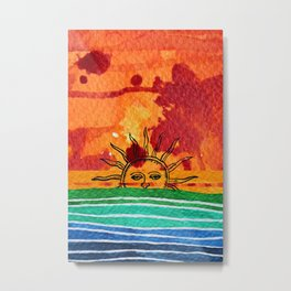 Sunset in planet Bizarro Metal Print