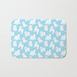 Bichon Frise Pattern (Blue Background) Bath Mat