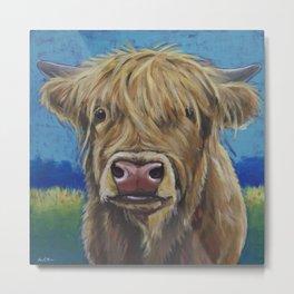 Highland Cow Art, Colorful Highland Cow Art Metal Print
