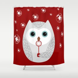 Christmas owl on red Shower Curtain