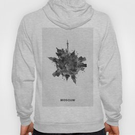 Moscow, Russia Black and White Skyround / Skyline Watercolor Painting Hoody
