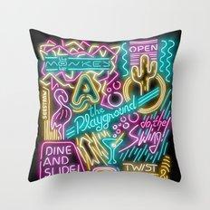 Neon Playground Throw Pillow