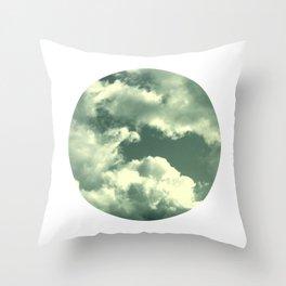 Cloudy sky photograph, dreamy white green, spring decor Throw Pillow