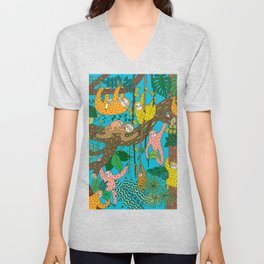 Happy Sloths Jungle Unisex V-Neck