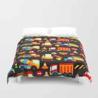 truck Duvet Covers featuring Construction Truck by comodo777