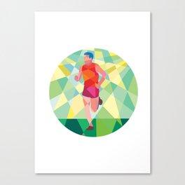 Marathon Runner Running Circle Low Polygon Canvas Print