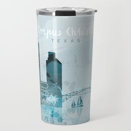 Corpus Christi Texas Monochrome Blue Skyline Travel Mug