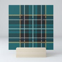 Irish green teal plaid tartan Mini Art Print