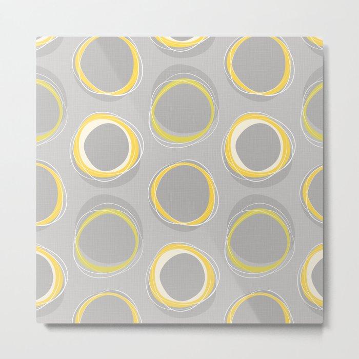 Solar Eclipse MCM Gray-Yellow Metal Print