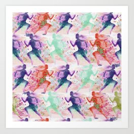 Watercolor women runner pattern with red mint and dark purple Art Print