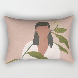 Elegant Lady holding a Flower Rectangular Pillow