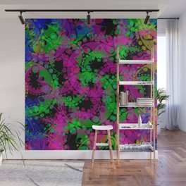 Multicolored delicate pastel purple circles and green ellipses depicting abstract ornamental blue fl Wall Mural