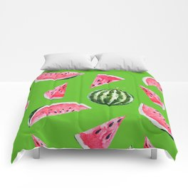 Watermelon Pattern with Green Background Comforters