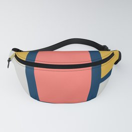 Stacked Blocks, Vertical in Coral, Gold, Gray and Navy Fanny Pack