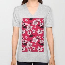 Pink Sakura Cherry Tree Flower Blooms - Aloha Hawaiian Floral Pattern Unisex V-Neck