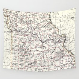 Vintage Map of Missouri (1883) Wall Tapestry
