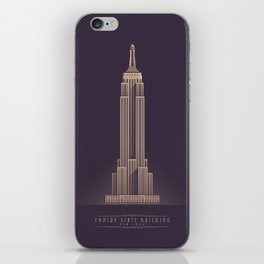 Empire State Building New York Art Deco - Vintage Dark iPhone Skin