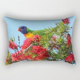 Rainbows and Brushes - Australian Lorikeet Rectangular Pillow