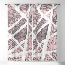 Geometric doodle pattern - pink and black Sheer Curtain