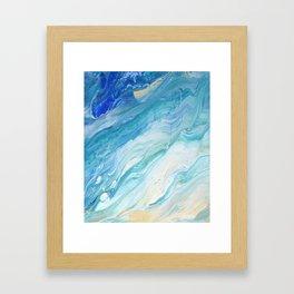 Calm Seas: Acrylic Pour Painting Framed Art Print