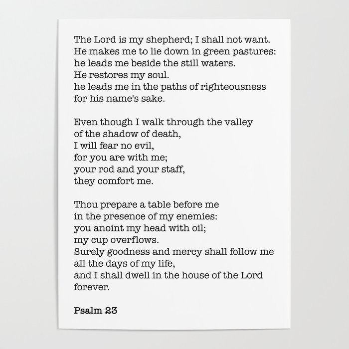 Psalm 23 Bible Verse Print The Lord Is My Shepherd Poster By Socoart