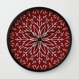 Single Snowflake - dark red Wall Clock