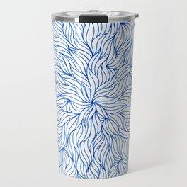 Blue seaweed mandala design Travel Mug