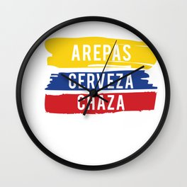 Colombia Flag Chaza Game graphic Arepas Cerveza Chaza print Wall Clock