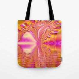 Golden Pink Fiesta, Abstract Fractal Ocean Ripples Tote Bag