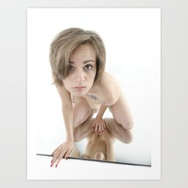 9360-KMA Brown Eyed Girl Nude on Mirror Art Print