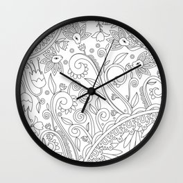 Sketchbook drawing (Black on White) Wall Clock