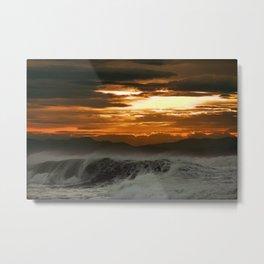 Winter Shorebreak at Sunset Metal Print