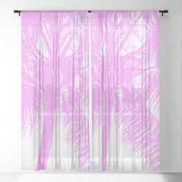 Palm Tree Pink Summer Beach Sheer Curtain