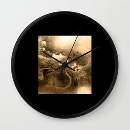 Dragon and wave,Tiger among bamboo by Kano Tannyu (1602-1674) Wall Clock