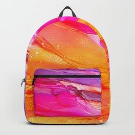 Pocket of Sunshine - fluid art, red orange yellow purple, vibrant fun, playroom Backpack
