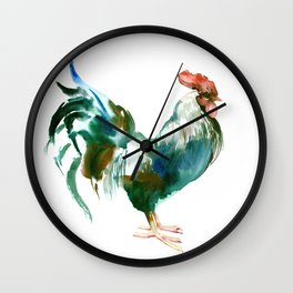 Rooster, Turquoise Blue Brown Kitchen art Wall Clock