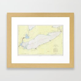 Vintage Map of Lake Erie (1955) Framed Art Print