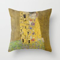 Throw Pillows featuring The Kiss by Gustav Klimt by Palazzo Art Gallery