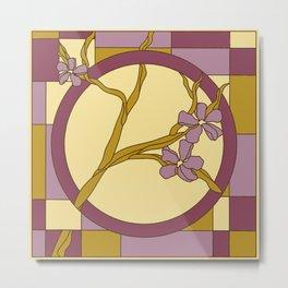 Lilac modern art nouveau flowers Metal Print