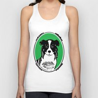 border collie Tank Tops featuring Border Collie Printmaking Art by Artist Abigail